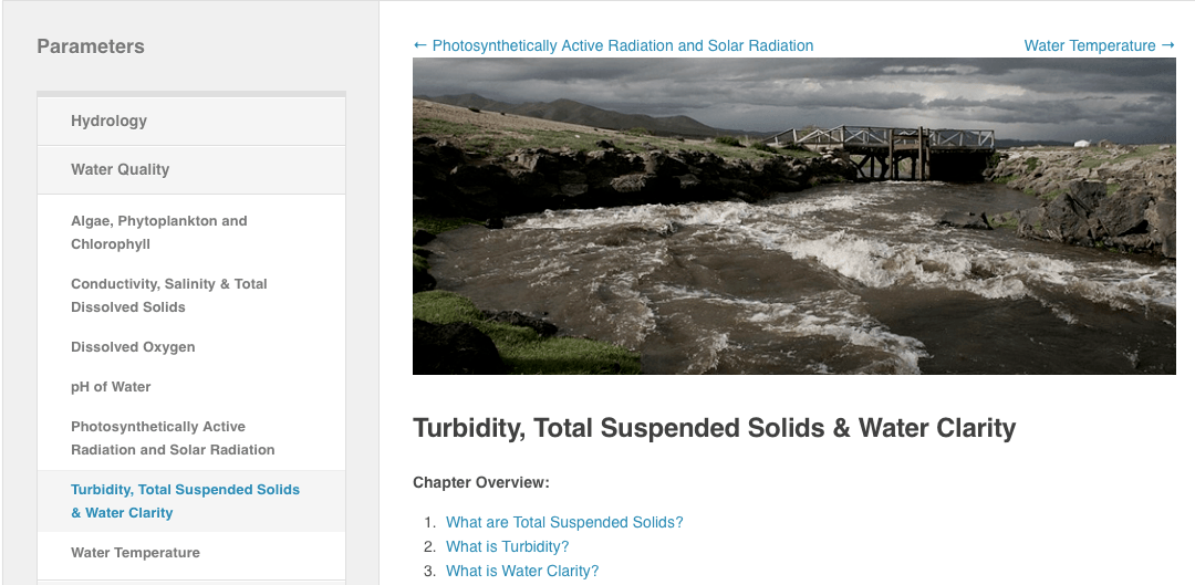 Turbidity, Total Suspended Solids and Water Clarity