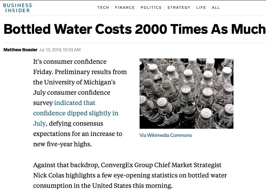 bottled water costs 2000 times